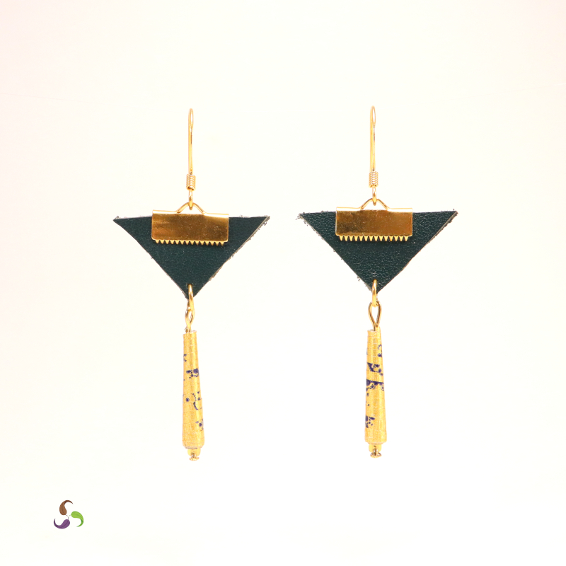 Boucles d'oreilles laiton cuir triangle