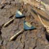 Boucles d'oreilles triangle cuir et papier