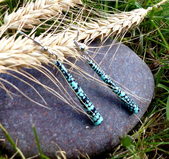 Boucles d'oreilles papier recyclé bleu