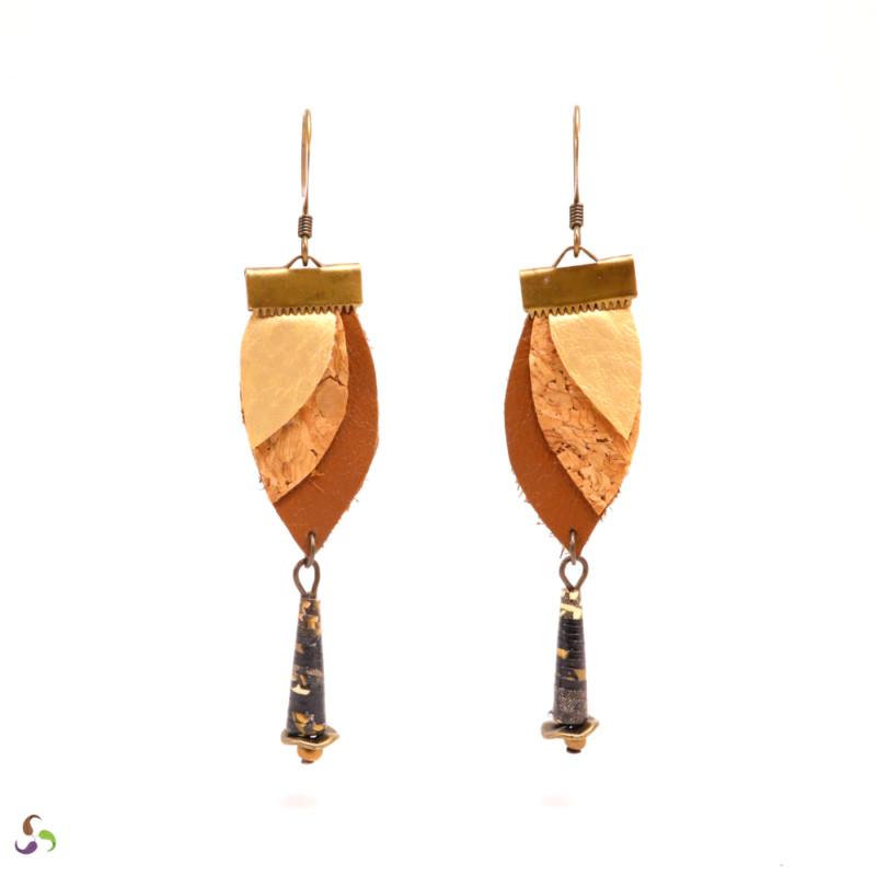 Boucles d'oreilles feuilles cuir
