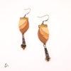 Boucles d'oreilles feuilles cuir laiton