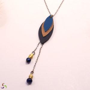 collier laiton bleu